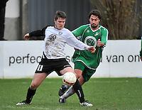 KVC Deerlijk Sport - Blauwvoet Otegem : Martijn Stragier (links) aan de bal voor de opzittende Steven Victor (rechts)<br /> foto VDB / Bart Vandenbroucke