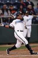 July 6 2009: Gerardo Avila of the Everett AquaSox bats against the Yakima Bears at Everett Memorial Stadium in Everett,WA.  Photo by Larry Goren/Four Seam Images