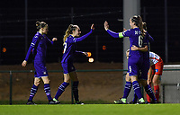 Tessa Wullaert (27) of Anderlecht pictured celebrating after scoring a goal during a female soccer game between RSC Anderlecht Dames and SV Zulte Waregem on the 10 th matchday of the 2020 - 2021 season of Belgian Womens Super League , friday 18 th of December 2020  in Tubize , Belgium . PHOTO SPORTPIX.BE | SPP | DAVID CATRY