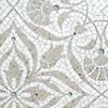 Vashti, a hand-cut stone mosaic, shown in honed Calacatta Tia, polished Socorro Gray, and Tropical White glass.
