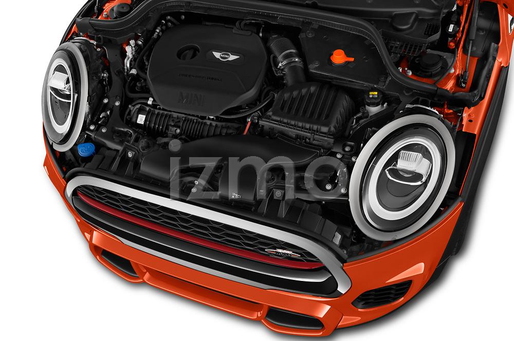 Car Stock 2019 MINI Hardtop-2-Door John-Cooper-Works-Iconic 5 Door Hatchback Engine  high angle detail view