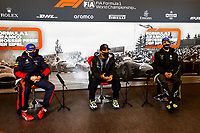 11th October 2020, Nuerburgring, Nuerburg, Germany; FIA Formula 1 Eifel Grand Prix, Race Day;  33 Max Verstappen NLD, Aston Martin Red Bull Racing, 44 Lewis Hamilton GBR, Mercedes-AMG Petronas Formula One Team, 3 Daniel Ricciardo AUS, Renault DP World F1 Team press conference