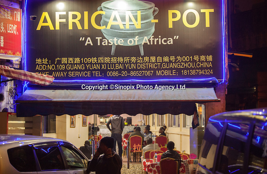 An African restaurant is seen in an area of Guangzhou known to locals as 'Chocolate City', Guangzhou, Guangdong Province, China, 08 December 2014. The health authorities of Guangzhou are said to be stepping up their monitoring of the African community in light of the ongoing outbreak of the Ebola virus disease in West Africa.