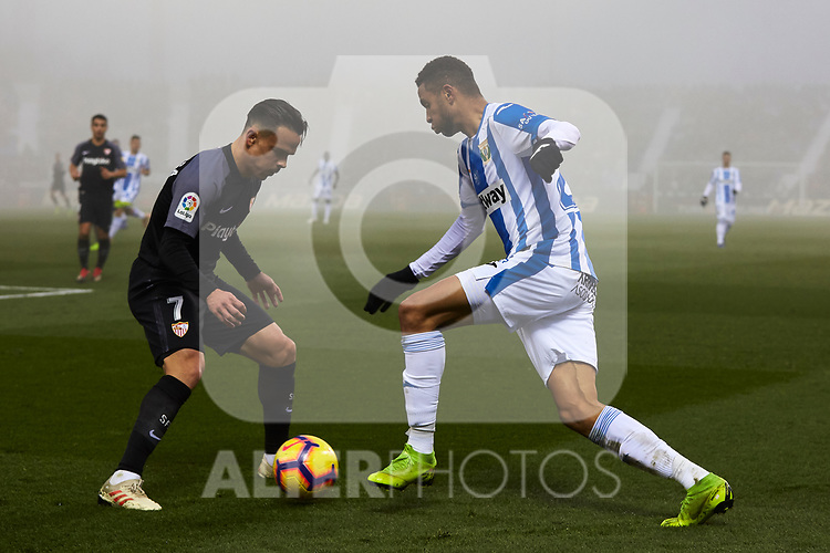 CD Leganes' Youssef En-Nesyri and Sevilla FC's Roque Mesa during La Liga match between CD Leganes and Sevilla FC at Butarque Stadium in Leganes, Spain. December 23, 2018. (ALTERPHOTOS/A. Perez Meca)