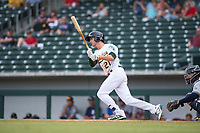 Mesa Solar Sox designated hitter Eli White (21), of the Oakland Athletics organization, follows through on his swing during an Arizona Fall League game against the Peoria Javelinas at Sloan Park on October 11, 2018 in Mesa, Arizona. Mesa defeated Peoria 10-9. (Zachary Lucy/Four Seam Images)
