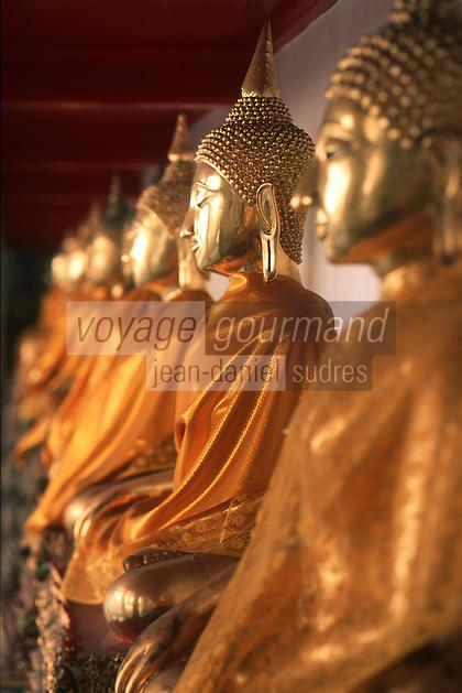 Thailande/Bangkok: Temple de Bouddha Couché -Détail de la Galerie des Bouddhas