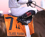 Saddlecloth of Will Take Charge and jockey Luis Saez's boot after G1 Clark Handicap win.<br /> November 29, 2013.