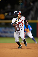 Gwinnett Braves left fielder Ronald Acuna (24) running the bases during a game against the Buffalo Bisons on August 19, 2017 at Coca-Cola Field in Buffalo, New York.  Gwinnett defeated Buffalo 1-0.  (Mike Janes/Four Seam Images)