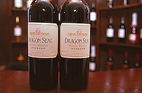 Two bottles of Dragon Seal 2002 Huailai Reserve red wine, made by Dragon Seal Wines Co. Ltd outside of Beijing Bejing, China, Asia