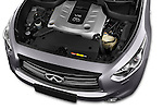 Car Stock 2015 Infiniti QX70 S 5 Door Suv Engine high angle detail view
