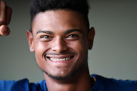 Right fielder Jose Medina (8) of the Columbia Fireflies poses for a photo before a game against the Greenville Drive on Thursday, June 15, 2017, at Fluor Field at the West End in Greenville, South Carolina. Columbia won, 7-2. (Tom Priddy/Four Seam Images)