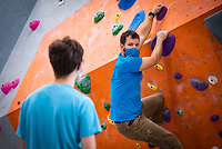 Alaska Rock Gym operations manager and UAA recreation course instructor Eric Wickenheiser teaches Beginning Indoor Sport Climbing (PER A148) at the Alaska Rock Gym in Anchorage.
