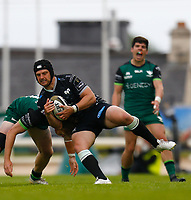 4th June 2021; Galway Sportsgrounds, Galway, Connacht, Ireland; Rainbow Cup Rugby, Connacht versus Ospreys; Dan Evans (Ospreys) holds on to the ball under pressure from Cian Prendergast (Connacht)