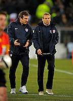 Juergen Klinsmann  (r, USA), during the friendly match Italy against USA at the Stadium Luigi Ferraris at Genoa Italy on february the 29th, 2012.
