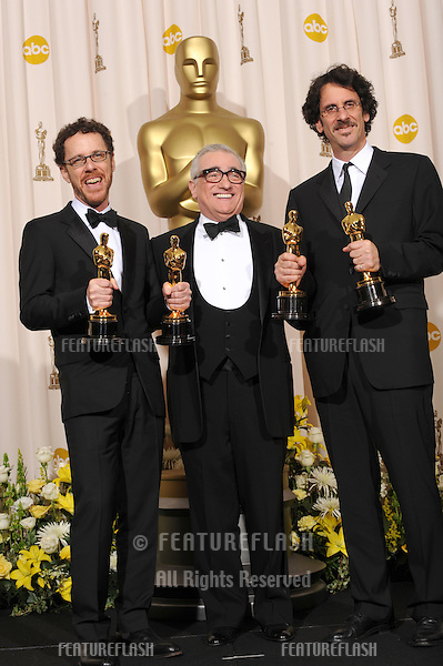 Ethan Cohen & Martin Scorsese & Joel Cohen at the 80th Annual Academy Awards at the Kodak Theatre, Hollywood, CA..February 24, 2008 Los Angeles, CA.Picture: Paul Smith / Featureflash