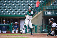 Fort Wayne TinCaps Justin Lopez (14) at bat during a Midwest League game against the Kane County Cougars at Parkview Field on May 1, 2019 in Fort Wayne, Indiana. Fort Wayne defeated Kane County 10-4. (Zachary Lucy/Four Seam Images)
