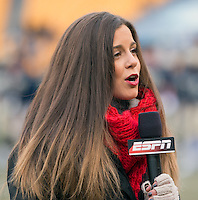 ESPN sideline reporter Niki Noto. The Miami Hurricanes defeated the Pitt Panthers 41-31 at Heinz Field, Pittsburgh, Pennsylvania on November 29, 2013.