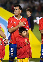 CARSON, CA – JANUARY 22: Chile forward Estaban Paredes (9) before the international friendly match between USA and Chile at the Home Depot Center, January 22, 2011 in Carson, California. Final score USA 1, Chile 1.