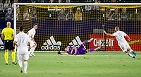 CARSON, CA - SEPTEMBER 06: David Bingham #1 GK of the Los Angeles Galaxy makes a save during a game between Los Angeles FC and Los Angeles Galaxy at Dignity Health Sports Park on September 06, 2020 in Carson, California.