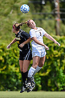 Texas State defender Brenna Smith (3) and Appalachian State forward Jane Cline (6) go up for a header during first half of an NCAA soccer game, Sunday, October 05, 2014 in San Marcos, Tex. Texas State leads 1-0 at the halftime. (Mo Khursheed/TFV Media via AP Images)