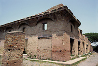 """Italy: Ostia--House of Diana, a """"superb example of an Insula with rooms an corridors planned around a central court. Photo '83."""