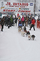 Jeremiah Klejka of Bethel leaves the start line of the 2009 Junior Iditarod on Knik Lake on Saturday Februrary 28, 2009.
