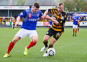 Cowdenbeath's Darren Brownlie holds off Alloa's Greig Spence.