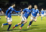 St Mirren v St Johnstone…26.12.18…   St Mirren Park    SPFL<br />Tony Watt celebrates his goal with Scott Tanser and Dvaid Wotherspoon<br />Picture by Graeme Hart. <br />Copyright Perthshire Picture Agency<br />Tel: 01738 623350  Mobile: 07990 594431