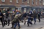 Belfast Northern Ireland. Catholic youths rioting. Probably taken in Etna Drive, Ardoyne north Belfast.