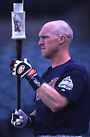 Darin Erstad of the Anaheim Angels during a 2001 season MLB game at Angel Stadium in Anaheim, California. (Larry Goren/Four Seam Images)