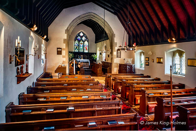 Interior of St Lawrence Church, Tubney, Oxfordshire, UK. This is the only Protestant church designed by Augustus Pugin. The interior fittings were designed by him and remain unchanged since its consecration in 1847.