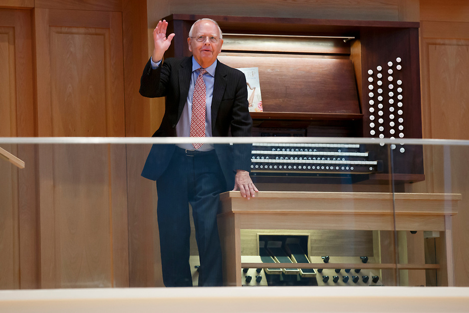 Indiana University Jacobs School of Music Dean Emeritus Charles H. Webb stands for recognition during the opening ceremony of the 11th USA International Harp Competition at Indiana University in Bloomington, Indiana on Wednesday, July 3, 2019. (Photo by James Brosher)