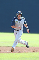 Taylor Ard #38 of the Hillsboro Hops runs the bases during a game against the Vancouver Canadians at Nat Bailey Stadium on July 24, 2014 in Vancouver, British Columbia. Hillsboro defeated Vancouver, 7-3. (Larry Goren/Four Seam Images)