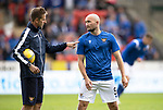 St Johnstone v Galatasaray…12.08.21  McDiarmid Park Europa League Qualifier<br />Coach Steven MacLean talks with Chris Kane during the warm-up<br />Picture by Graeme Hart.<br />Copyright Perthshire Picture Agency<br />Tel: 01738 623350  Mobile: 07990 594431