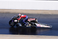 Sept. 14, 2012; Concord, NC, USA: NHRA pro stock motorcycle rider Hector Arana Sr during qualifying for the O'Reilly Auto Parts Nationals at zMax Dragway. Mandatory Credit: Mark J. Rebilas-