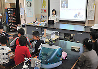 The world's first robot teacher, SAYA, in a Tokyo primary school. SAYA has been in development for the past 15 years by Professor Hiroshi Kobayashi at the Department of Mechanical Engineering at Tokyo University of Science. SAYA can talk and has a full range of facial expressions..