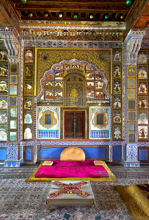 The Takhat Vilas chamber, the Maharajah's former pleasure room in the Mehrangarh Fort/Palace, where he'd meet his various wives for games of Ludo beneath the glass baubles imported from Belgium.