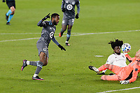 ST PAUL, MN - NOVEMBER 22: Kevin Molino #7 of Minnesota United FC takes a shot during a game between Colorado Rapids and Minnesota United FC at Allianz Field on November 22, 2020 in St Paul, Minnesota.
