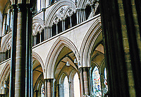 Detail of Gothic design in the nave of Salisbury Cathedral, 1220-1252. Salisbury England