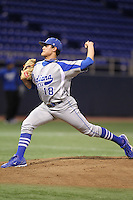 Indiana State Sycamores pitcher Sean Manaea #18 pitches during a game against the Minnesota Golden Gophers at the Metrodome on March 15, 2013 in Minneapolis, Minnesota. (Brace Hemmelgarn/Four Seam Images)