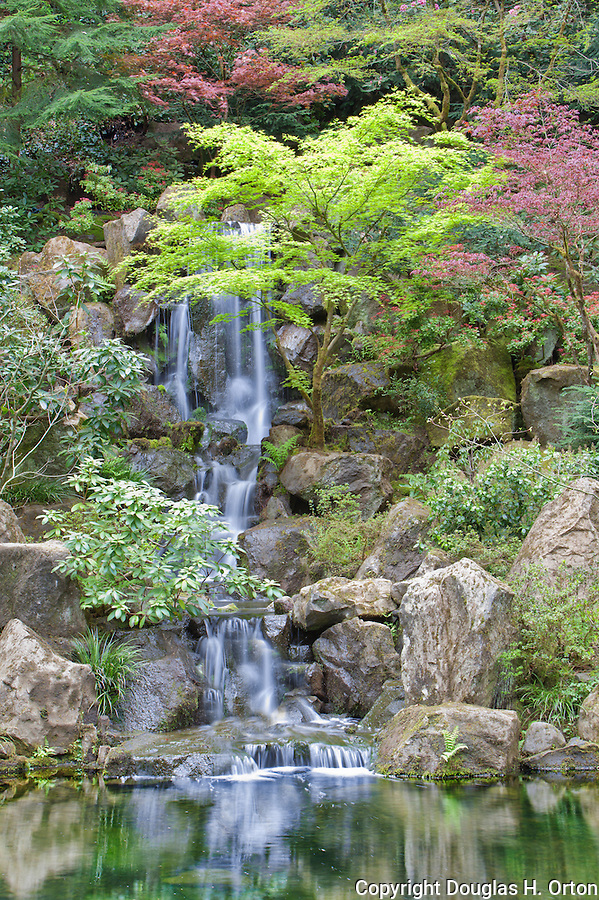 Heavenly Falls at Portland Oregon Japanese Garden.  The Japanese Garden in Portland is a 5.5 acre respit.  Said to be one of the most authentic Japanese Garden's outside of Japan, the rolling terrain and water features symbolize both peace and strength. Public, city facility