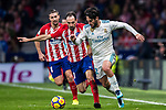 Isco Alarcon (r) of Real Madrid is tackled by Juan Francisco Torres Belen, Juanfran, of Atletico de Madrid  during the La Liga 2017-18 match between Atletico de Madrid and Real Madrid at Wanda Metropolitano  on November 18 2017 in Madrid, Spain. Photo by Diego Gonzalez / Power Sport Images