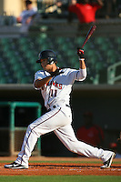 August 24 2008: Kristopher Negron of the Lancaster JetHawks bats against the Modesto Nuts at Clear Channel Stadium in Lancaster,CA.  Photo by Larry Goren/Four Seam Images