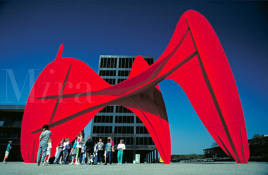 Alexander Calder's sculpture in Grand Center plaza, art, sculptures. Grand Rapids Michigan USA downtown.