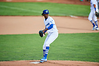 Ogden Raptors starting pitcher Adalberto Pena (40) delivers a pitch to the plate against the Great Falls Voyagers at Lindquist Field on September 14, 2017 in Ogden, Utah. The Raptors defeated the Voyagers 7-4 in Game One of the Pioneer League Championship. (Stephen Smith/Four Seam Images)
