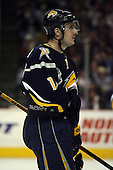 February 17th 2007: Alex Kotalik (12) of the Buffalo Sabres looks to the bench vs. the Boston Bruins at HSBC Arena in Buffalo, NY.  The Bruins defeated the Sabres 4-3 in a shootout.
