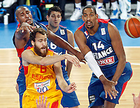 "Sergio Rodriguez of Spain and France`s Boris Diaw, Antoine Diot and Alexis Ajinca in action during European basketball championship ""Eurobasket 2013"" semifinal basketball game between Spain and France in Stozice Arena in Ljubljana, Slovenia, on September 20. 2013. (credit: Pedja Milosavljevic  / thepedja@gmail.com / +381641260959)"