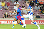 FC Barcelona's Martin Braithwaite (l) and Real Sociedad's Jon Pacheco during La Liga match. August 15, 2021. (ALTERPHOTOS/Acero)