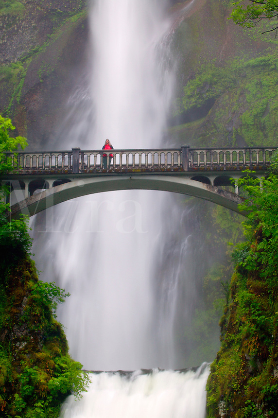 A visitor (MR) on the Benson Bridge and the Multnomah Falls off the Historic Columbia River Highway Columbia River Gorge National Scenic Area, Oregon.