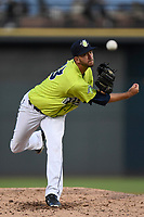 Starting pitcher Joe Cavallaro (23) of the Columbia Fireflies recorded eight strikeouts in six strong innings to earn the 7-2 win against the Augusta GreenJackets on Friday, April 6, 2018, at Spirit Communications Park in Columbia, South Carolina. (Tom Priddy/Four Seam Images)